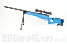 Well MB08 Warrior Sniper rifle in blue with bipod and scope