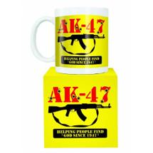 AK47 automatic machine gun mug in yellow