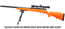 UHC Super X9 Sniper Rifle with Scope & Bipod in orange