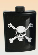 Flask in skull and cross bones design in black