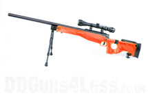 Well MB08 Spring Sniper airsoft rifle in orange with Scope & Bipod
