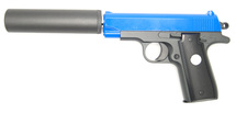 Galaxy G2A full metal pistol with silencer in blue