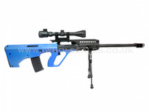 JG Works AU 5G Electric Sniper Rifle with scope and bipod in blue
