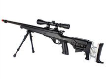Well MB12 Airsoft Sniper Rifle with Scope & Bipod in Black