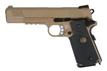 WE MEU M1911Full Metal Pistol GBB With Rail in Tan