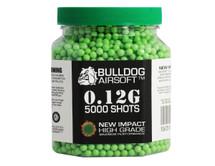 Bulldog impact bb pellets 5000 x 0.12g tub in green
