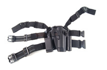Hard Leg Holster for Colt M1911 with Two Pouches in Black
