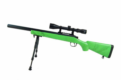 Well MB02 Spring Airsoft Sniper Rifle in Green with Scope and Bipod