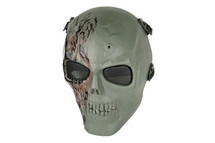 Airsoft Skull with scar full face mask in green & brown