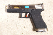 WE Force Series Custom G17 GBBP Silver Slide with Gold Barrel