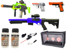 super bundle deal 1 includes  1 x double eagle p169  1 x multi function target  2 x Angry ball 0.20G bb pellets 1 x laser kit 1 x taurus pt111 1 x double eagle m85 rifle 1 x double eagle m47