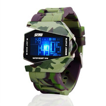 Army Military Fighter Style Digital LED Display Watch in Green Camo