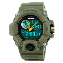 G Style Army Digital Rubber Sports Wrist Watch in Army Green