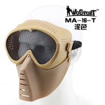 Wo Sport Aviator Airsoft Mask with Metal Mesh Eyes in Tan/Sand