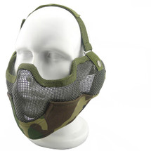 Wo Sport Metal Mesh Lower Face & Ears Mask in Woodland Camo