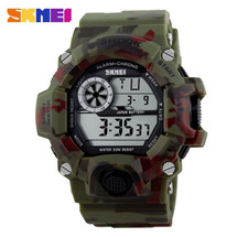 skmei g style army digital rubber wrist watch in woodland