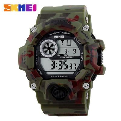 skmei g style army digital rubber wrist watch in woodland