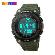 Pedometer Sports LED Display Watch in Rubber Green Strap - DG1112S