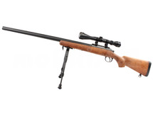Well MB03 Spring Sniper Rifle with scope & bipod in Wood Finish