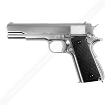 WE 1911 Matte Chrome Full Metal Checker Black Grip in Silver