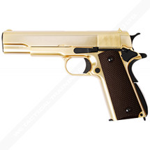 WE Gold Plated 1911 Full Metal Checker Black Grip in Gold