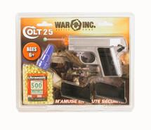 Colt 25 Replica pistol with 2 x mags & 500 bbs Sliver/orange