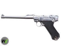 """WE P08 Luger 8"""" Gas Blowback Pistol in Silver"""