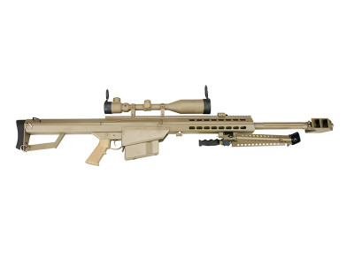 Snow Wolf Barrett M82 Sniper Rifle with Scope and Bipod in tan
