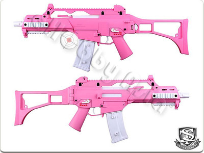 H&K G36C AEG Competition Version with Folding Stock in Hot Pink