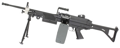 A&K M249 Airsoft gun with folding Stock in black