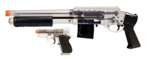 Mossberg spring pump action shotgun with m590 cruiser kit in clear