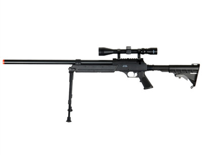 Well MB06 Airsoft Sniper Rifle with Scope & Bipod in Black