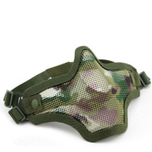 Wo Sport Metal Mesh Lower Half Face Mask in Multi Cam/Green