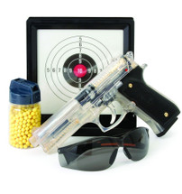 Blackviper M92 airsoft kit with glasses target & pellets