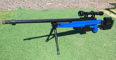 Well MB4415 Bolt Action Airsoft Sniper Rifle in Blue with Scope & Bipod