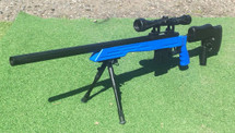 Well MB4413 Elite Airsoft Sniper Rifle in Blue with scope & bipod