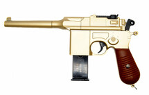 Galaxy G12 Broom Handle Mauser C96 Style pistol in gold