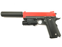 Galaxy G25A Kimber Metal Pistol inc Laser Sight & Silencer in Red