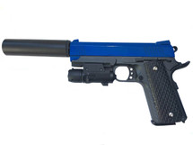 Galaxy G25A Kimber Metal Pistol inc Laser Sight & Silencer in Blue