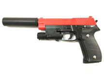 Galaxy G26A P226 Metal Pistol inc Laser Sight & Silencer in Red