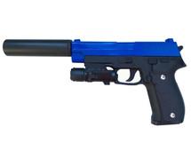 Galaxy G26A P226 Metal Pistol inc Laser Sight & Silencer in Blue