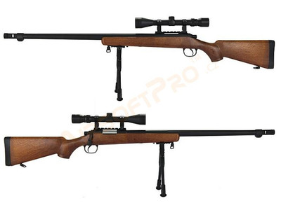 Well MB07 Sniper Rifle with Scope & Bipod in Wood  Finish