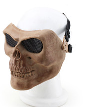 Wo Sport Skull Plastic Mask V2 (Steel Mesh) in Dried Bone