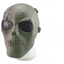 Wo Sport Skull Plastic Mask V1 (Round Mesh) in New Green