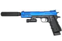 Vigor 2012-A2 Pistol with Silencer and Laser Sight in Blue