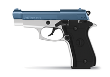 "Retay Mod84-FS ""Cheetah"" 9MM Blank Firing Pistol in Chrome & Blue"