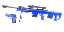 Cyma P1161 Spring M82 Support Rifle and Pistol Set in Blue