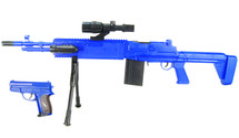 Cyma P1160 Spring M249 Support Rifle and Pistol Set in Blue