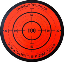 Target Stickers Roll of 250 x 85mm in Fluorescent Red