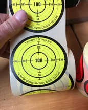 Target Stickers Roll of 250 x 85mm in Fluorescent Yellow